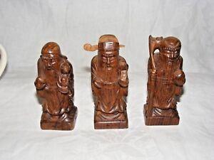 3er-Set-Chinesisch-Geschnitzte-Hoelzernes-Immortals-Fu-Lu-Shou-Figuren-Statuen