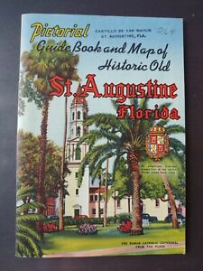 1950s Pictorial Guide Map Booklet Historic Old St Augustine Florida Travel