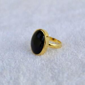 Black Onyx Ring 925 Sterling Silver Ring 14K Gold Plated Ring All Size KA-51