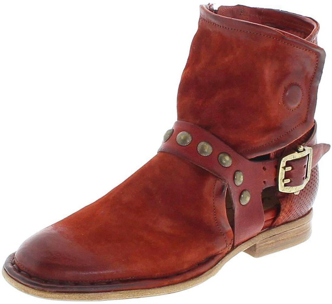A.s.98 639205 sangria lederbotasette para señora rojo fashion botas