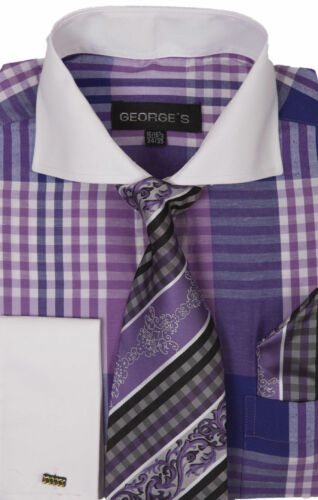 New Men/'s Dress Shirt Check Design French Cuff  Spread Collar Tie/&Hanky  A626