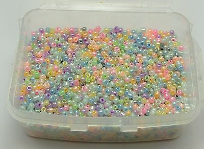 5000 Mixed Color Ceylon Pearl Glass Seed Beads 2mm (10/0) + Storage Box