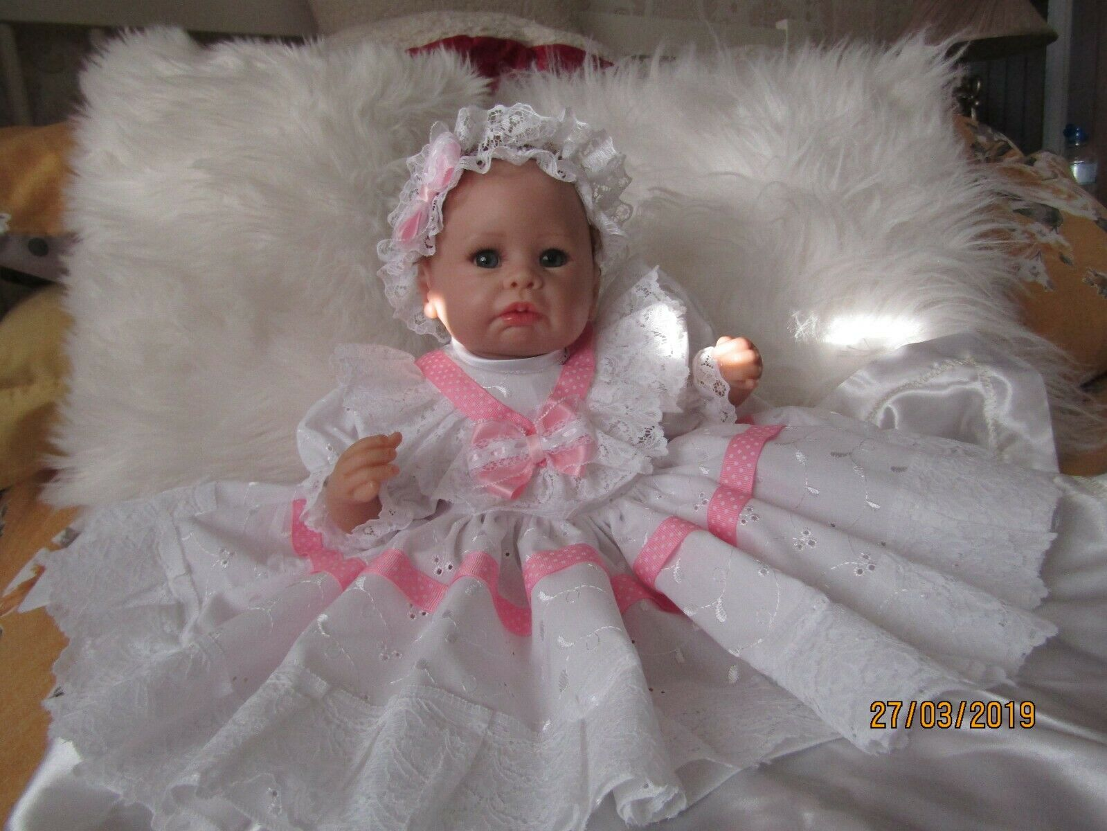 CLOTHES FOR BAby 0-3mths /REBORN 16 white broderie with candy pink ribbon new