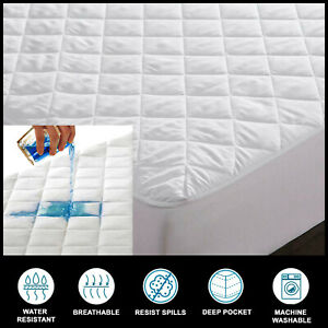 100-Cotton-Waterproof-Mattress-Protectors-Pad-Toppers-40cm-Extra-Deep-All-Sizes