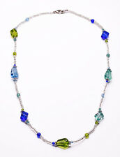 Verano chic Collar Brillantes Apple green/turquoise/sapphire Cuentas Azules (zx32)