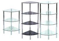Side End Table Shelving Unit Corner Display Glass Shelf Rack Floor Standing New