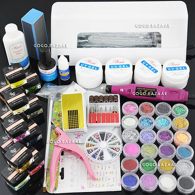 9W White UV Lamp Gel Polish Curing Dryer Light Acrylic UV Nail Art Kit New #962