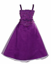 New Purple Bridesmaid Party Flower Girl Dress 6-7 Years