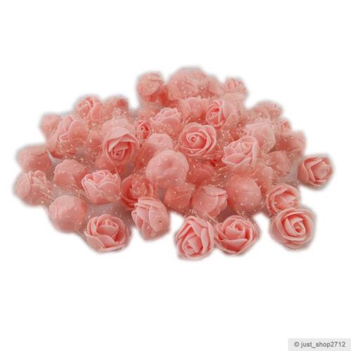 25//50 kleine Schaumrosen Tüll Foamrosen RosenKöpfe Lila Flieder Rot Weiß Rosa