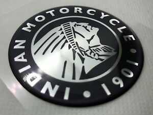 Indian-Motorcycle-Head-Logo-Badge-3D-Domed-Sticker-Silver-Black-60mm-diam