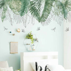 Tropical-Leaves-Butterflies-Wall-Stickers-Kids-Decor-home-Decor-Removable-Decal