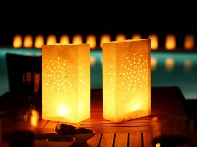 10 Fireworks white paper candle lantern bags wedding party favor