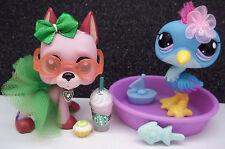 LITTLEST PET SHOP RARE #2582 2583 HERON & PINK GREAT DANE BOW SKIRT ACCESSORIES