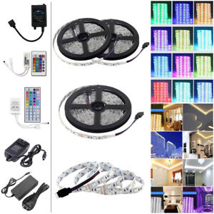 1-10M-5050-RGB-60LEDs-M-LED-Strip-Light-Lighting-Flexible-Remote-12V-Power