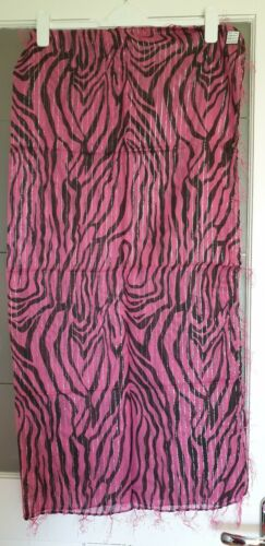 Ladies Pink  With Animal Pattern Sparkly Square Cotton Scarf