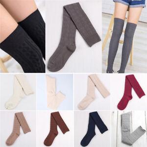 Calzini a fascia alta in lana da donna con calze al ginocchio