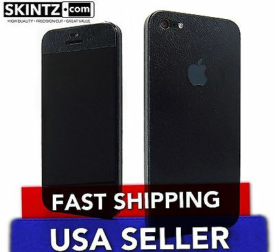 Apple iPhone 5 Skin - Black Leather - Sticker Decal Wrap Cover FRONT & BACK