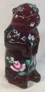 Boyd-Art-Glass-Hand-Painted-Roses-On-Red-Woodchuck