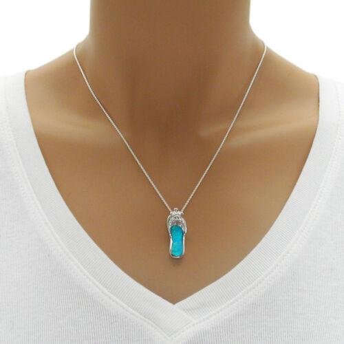 925 Sterling Silver Cute Turtle Created Opal Sandal Pendant
