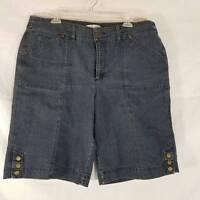 Christopher & Banks Blue Stretch Denim Jean Bermuda Shorts Womens Size 16