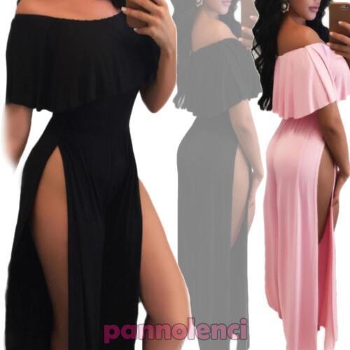 Overall abito vestito lungo donna scollo gitana barchetta spacchi nuovo DL-1970