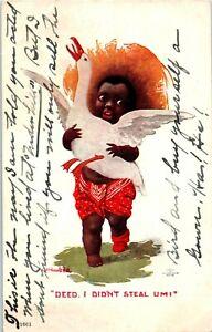 Postcard-Artist-Signed-Bernhardt-Wall-Black-Americana-Child-with-Goose-c1906