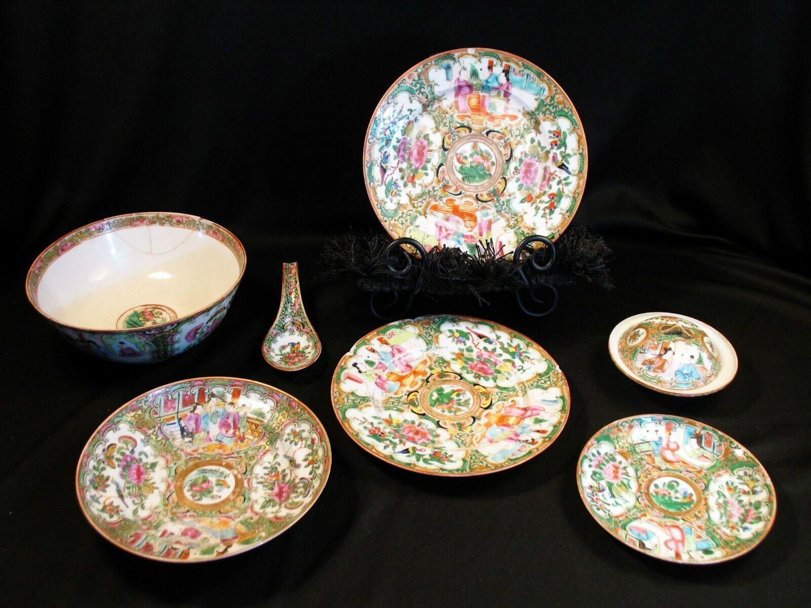 Antique Chinese Porcelain Famille Canton Rose Medallion Porcelain