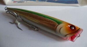 Noeby-leurre-Popper-14cm-40g-nage-surface-couleur-marron-vert-gris