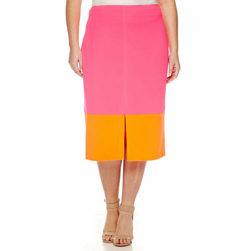 22W Msrp $44.00 Worthington Center Split Colorblock Skirt Plus Size 20W