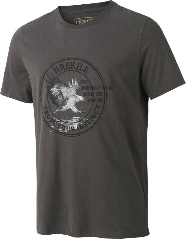 Härkila T-Shirt Wildlife Eagle - Mulch Grey - 100% Cotton