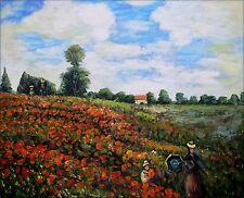 Oil Painting Repro Claude Monet Les Coquelicots a Argenteuil, 20x24in