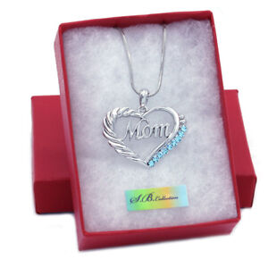 abd0afc4c Love Mother's Day Valentines Day Aqua Heart Necklace Jewelry Gift ...
