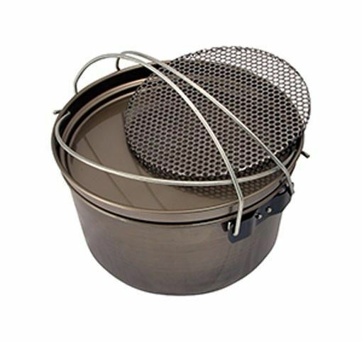 Camp Oven 12 inch Spun Carbon Steel 5 in 1 Fry Pan Hang Pan Boiling Pot Trivet