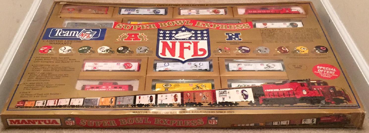 uomoTOVA Super Bowl express treno elettrico Set NFL NUOVO in scatola PISTA NFL treno auto