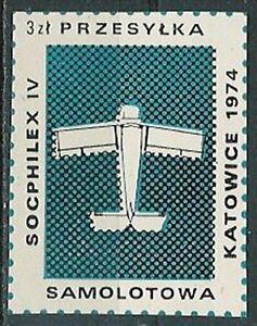 Poland - aviation label 1974 airplane SOCPHILEX IV - Bystra Slaska, Polska - Poland - aviation label 1974 airplane SOCPHILEX IV - Bystra Slaska, Polska