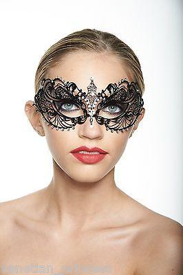 Sexy Venetian Metal Filigree Laser Cut Masquerade Mask w/ Rhinestones BA001BK