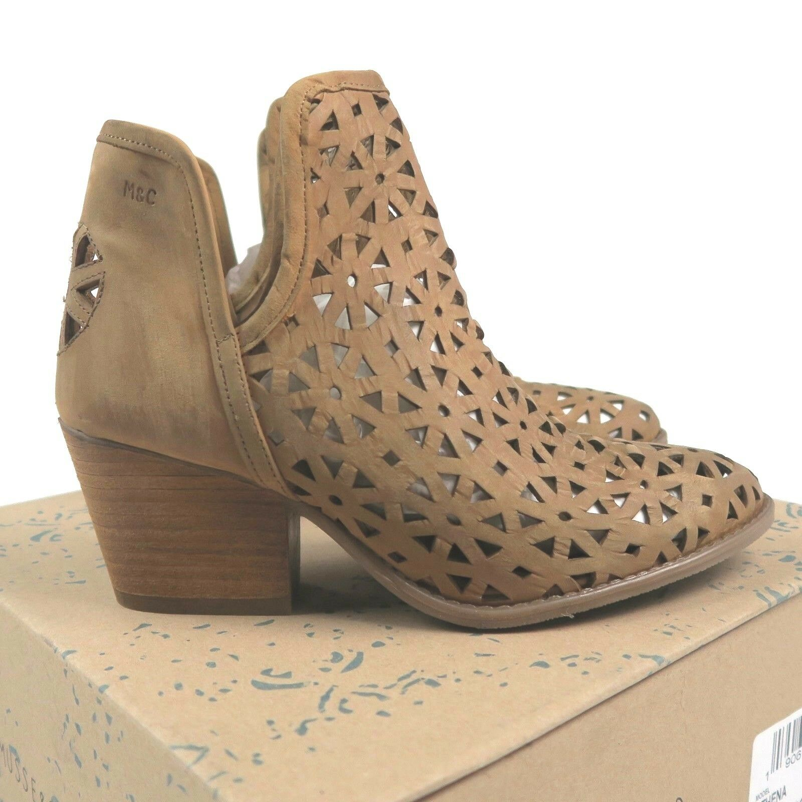 New Musse & Cloud Athena Laser Cut Leather Boot Size 41 US 10 Mustard Tan