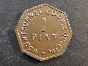 Co-op token, Leicestershire, Mountsorrel, 1 Pint Milk.