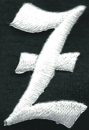 """1 1//8/"""" Fancy White Old English Alphabet Letter Z Embroidered Patch"""