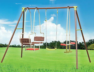 Xxl 5 Children Metal Frame Swing Glider Set Outdoor Garden Play