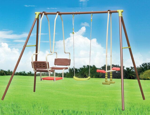 XXL 5 Children Metal Frame Glider Swing Set Outdoor Garden Play Activity Centre