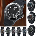 Geneva men's Sport Watch Stainless Steel Date Silicone Calendar Wrist watches
