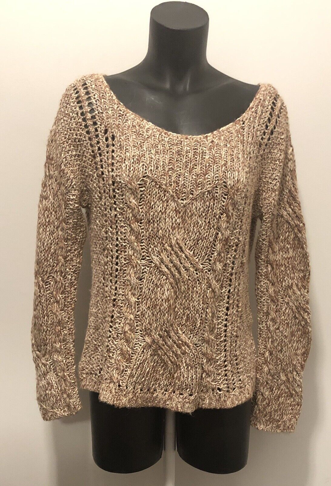 Free People Alpaca Wool Blend S P Cable Knit Sweater Ivory Pink Super Soft EUC