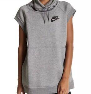 Details about Nike Sportswear Womens Size M Rally Funnel Neck Sleeveless Sweatshirt Gray