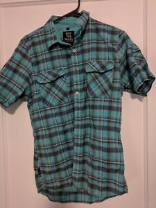 7e57eb83 Details about Vans Off The Wall Mens Blue Plaid Short Sleeve Button Up  Surf/Skate Shirt Size S