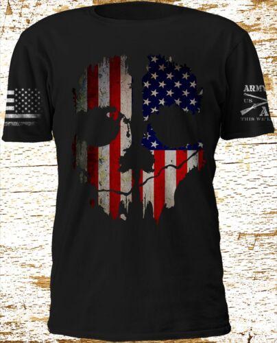 New Ghost American Flag Army Sleeve Black T SHirt S-4XL