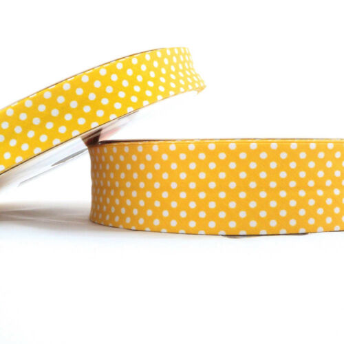 18mm Gelb Punkte Schrägbandeinfassung Baumwolle Stoff Gefaltet Borte