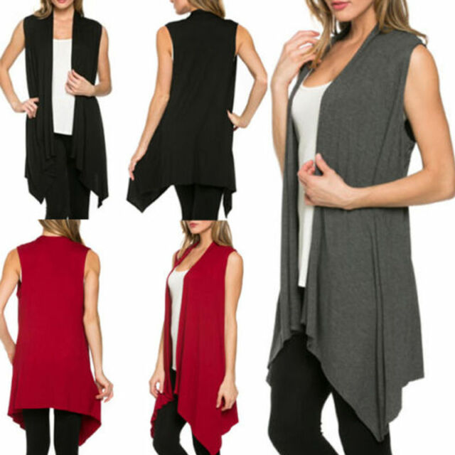 Women Open Vest Tunic Top Shawl Collar Draped Sleeveless Cardigan S M L XL