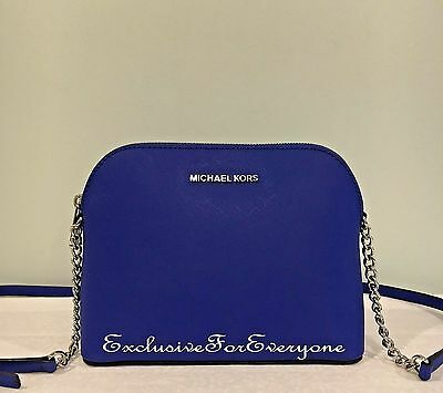 NWT Michael Kors Cindy Electric Blue Large Dome Crossbody Leather$168