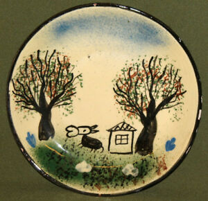 Vintage hand made painted redware pottery wall decor plate